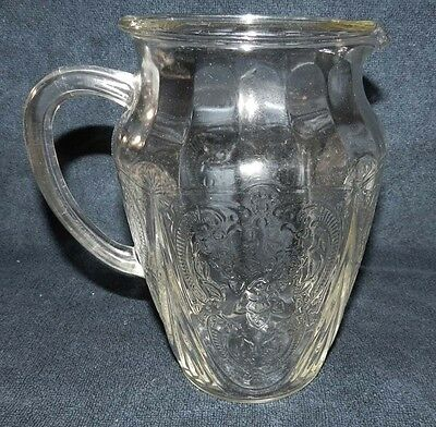 "Hazel Atlas Royal Lace Crystal Depression Glass Pitcher 64 oz 8 1/4"" tall"