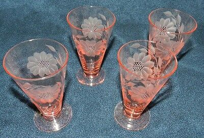 "1920-30's Hughes Cornflower Tiffin Rose Pink Table Tumbler 4 1/2"" tall -set of 4"