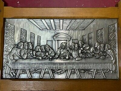 "Huge Antique German 29"" x 19"" Embossed Pewter Picture ""Last Supper"" W/Oak Frame"