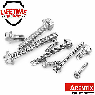 1/4/10/20/30/50/100 M8 A2 Stainless Steel Flange Hex Hexagon Head Screws Bolts
