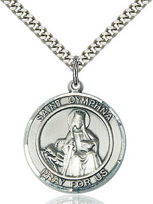 """Bliss Mfg St Dymphna Patron Saint Sterling Silver Medal Necklace w/24"""" Chain"""