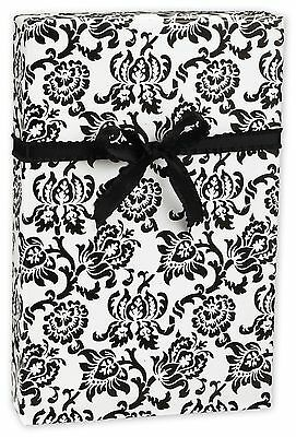 "Damask Gift Wrap - Black and White - 30"" x 100 Ft Lg Roll - 250 SQ FT  BULK SIZE"