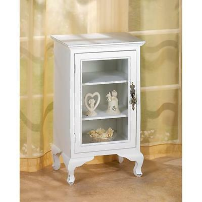 White Glass Front 3 Shelf Cabinet Night Stand Side End Table Office Bath Storage