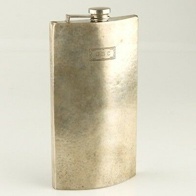 International Sterling 1 Pint Flask #854 Curved With Initials Hammered