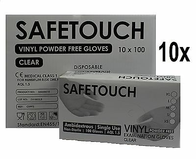 Box of 1000 Powder Free Disposable Clear Vinyl Gloves Latex Free Medical Grade