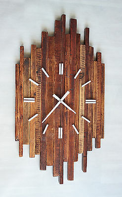 Pallet Wood Wall Clock 'Prim' Old Style Art Industrial Vintage Rustic Shabby