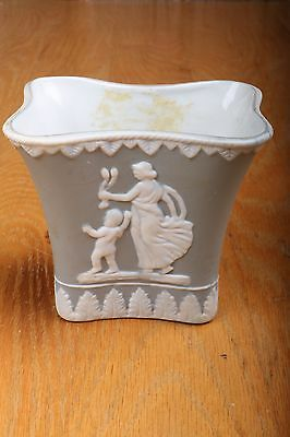 Vintage Blue Vase With Greek Figures Wedgwood Style