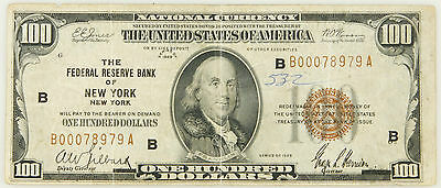1929 $100 Bill National Currency Federal Reserve Bank Of New York