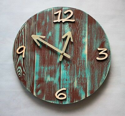 Pallet Wood Wall Clock 'Lue' Old Style Art Industrial Vintage Rustic Shabby