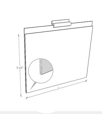 Acrylic Marketing Sign Holder Display for Slatwall 7 X 5.5(H) - 3 PCS (004CL)