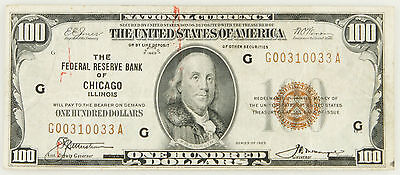1929 $100 Bill National Currency Federal Reserve Bank Of Chicago