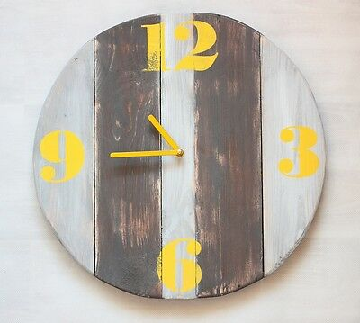 Pallet Wood Wall Clock Retro Yellow Old Style Industrial Vintage Rustic Shabby