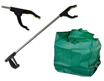 Long Plastic Pick Up Tool Outdoor Garden Rubbish Litter Picker Grabber + BAG