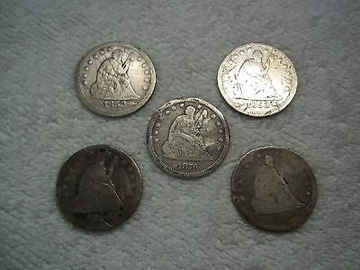 1853 - 1876 Seated Liberty Quarter (lot of 5) holed bent worn ugly #5.44.28