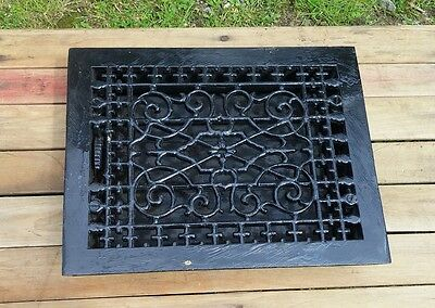 ANTIQUE Floor GRILLE CAST IRON VICTORIAN 12x8 + LOUVERS Grate HEAT REGISTER W@W