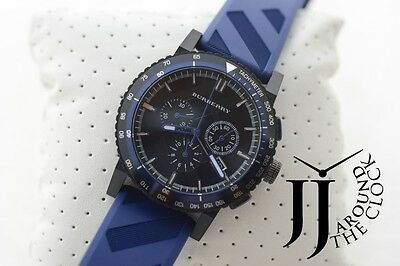 New Burberry The New City Blue Rubber Chronograph Mens Watch BU9807 42MM