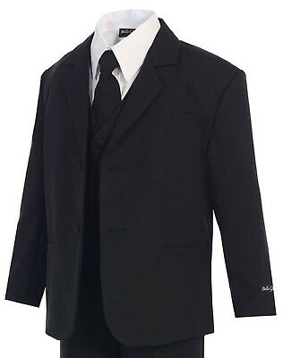 Boys Black Suit (S-20) - Little Kids Toddler Formal Occasion Dress Wear Wedding