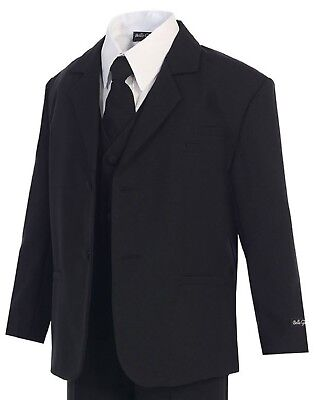 Boys Suits Set - Black (Sizes S - 20) - Kids Formal Occasion Dress Wear - New