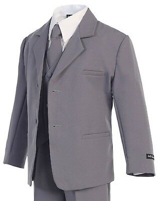 Boys Gray Suit (Sizes S - 20) - Kids Toddler Formal Occasion Dress Wear Wedding