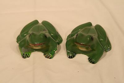 Pair of Vintage Ceramic Frog Figurines Hand Painted And Signed