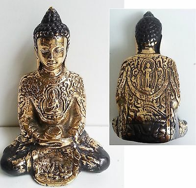 Anitqued Bronze Brass Buddha Sitting Hold Alms Bowl Ornament Metal Statue 11.5Cm