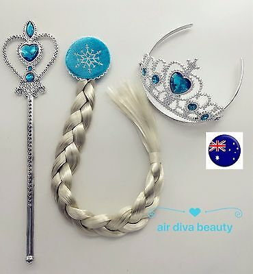 Kid Children Girls Frozen Elsa Crown Tiara Wand Hair Wigs Costume Party Gift Set