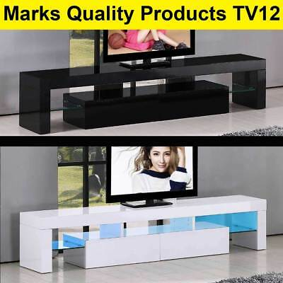TV Cabinet White or Black Entertainment Unit Stand Gloss LED Lowline Shelf TV12