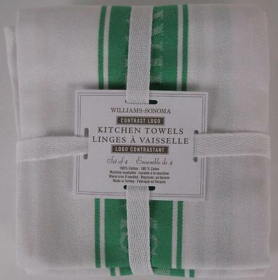 WILLIAMS SONOMA Contrast Logo Green Cotton Kitchen Towels Set of 4
