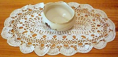 Vintage White Cotton Hand Crochet Oval Table Centre Doily