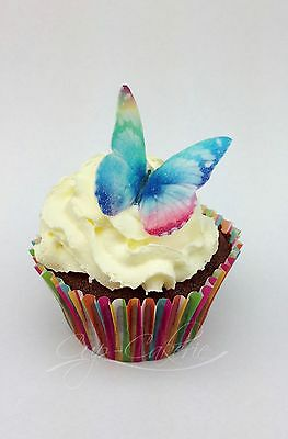 24 x Bright Rainbow Butterfly Edible Cupcake Toppers Cake Decorations Wafer Rice