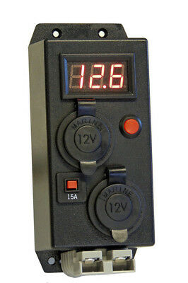 KICKASS Control Box With Volt Meter 2 Cigarette 1 Anderson Outlets