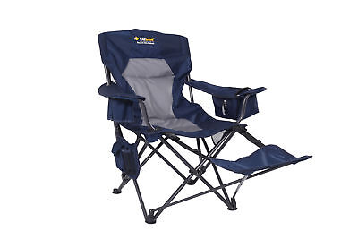 OZtrail Chair Monarch Camping w Footrest Strong Padded drink & bottle holder BLU