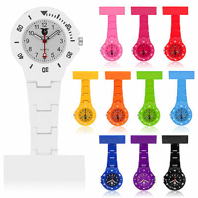 Nurse Watch Coloured Waterproof Plastic Brooch Tunic Fob Watch With Free Battery