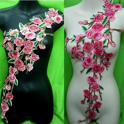 New Rose Flower Motif Collar Sew on Patch Applique Badge Embroidered Bust Dress