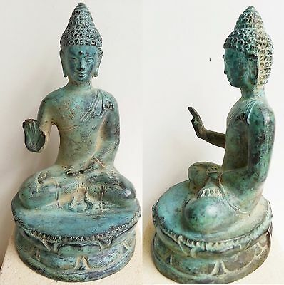 Bronze Antiqued Metal Brass Buddha Sitting Blessing Reassur Ornament Statue 12Cm