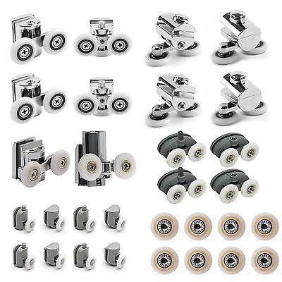 New Zinc Alloy Heavy Duty Twin Top Bottom Shower Door Wheels Rollers Runners
