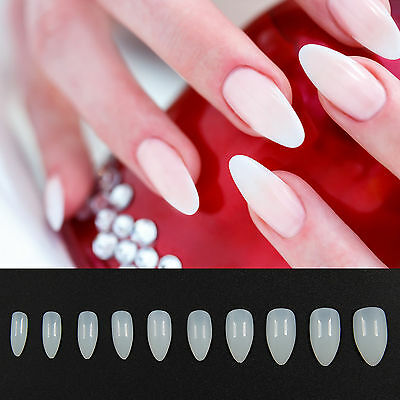 600 X  Full Cover False Nails Natural White Clear Acrylic Fashion Art Nail UK