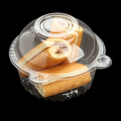 50 X Cake/Cupcake/Muffin/Biscuits Plastic Single Cases Boxes Individual Clear