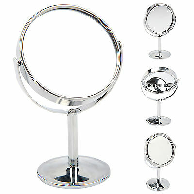 Portable Double Sided Round Magnifying Stand Mirror 360 Degrees Make Up Bathroom