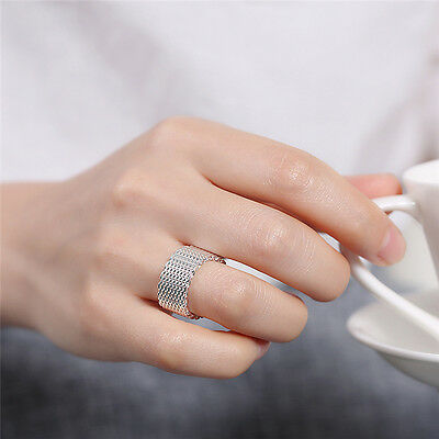 Fashion Women Men Solid 18k White Gold Plated Silver Ring Mesh Jewelry Size 6-10