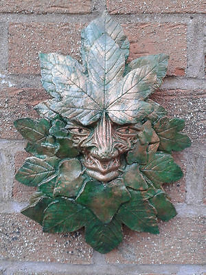 GreenMan Garden Wall Plaque C - Hand Cast & Painted - PAGAN WICCAN