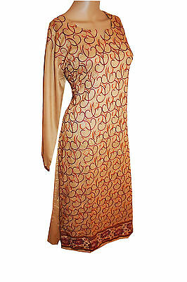 Designer Embroidered Kurta kurti tunic kameez Indian Pakistani Linen Dress