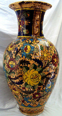 PARSIAN QAJAR BIG VASE FLOWERS Antique  ISLAMIC GLAZED ART POTTERT CERAMIC
