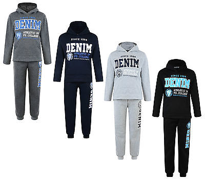 Kids Tracksuit Boys Jog Set Denim Hooded Top & Joggers Bnwt