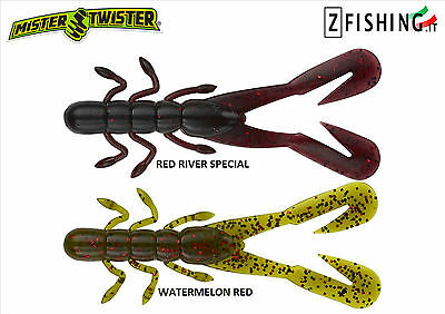 "Esca Siliconica BUZZ Bug 4"" Mister Twister 10 pz 10cm spinning lago gambero bass"