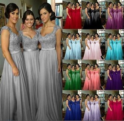 New Lace Chiffon Long Bridesmaid Formal Prom Party Ball Evening Dress Size 6-22