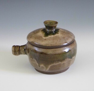 Handmade Stoneware Ceramic Pottery Onion Soup Crock Jar Bowl with Lid & Handle