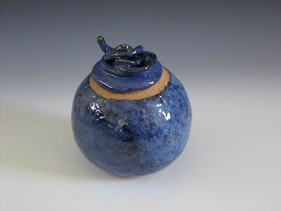 Handmade Painted Stoneware Ceramic Pottery Covered Jar