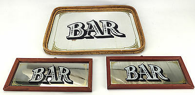 Cane Mirror Bar Tray and Two Signs Vintage 1980s Rack Mancave Bar Shed Kitcsh