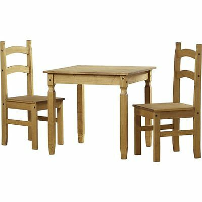 Corona 2 Seater Dining Set Chairs Table Solid Waxed Pine 3 Piece Furniture